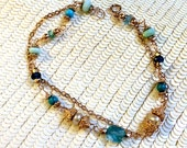 Rose Gold Bracelet Wire Wrap Turquoise Apatite Pearl Double Strand Chain Layer Bracelet Rosary Style