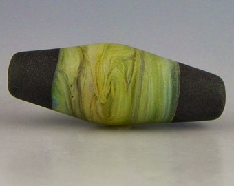 an etched bicone in swirled pastel StrikingColor glass with black end caps handmade lampwork glass bead - Riverwalk