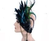 Feathered Head Piece, Asymmetrical Head piece, Dark Fusion, Opulent tribal, gypsy. goddess, Edgy, Highend Head wear: Renegade Icon Designs
