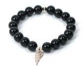 Black Onyx Guardian Angel Bracelet . stacking stretch beaded bracelet . strength support