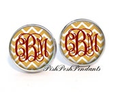 Monogram Earrings Gold Chevron Maroon (420)