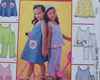 McCalls 4006 6 Great Looks One easy Pattern  Children's Dresses, Tops and Pants in sizes 3-6 (uncut)