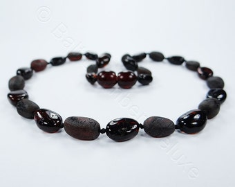 Cherry and grey OLIVE bead amber teething necklace