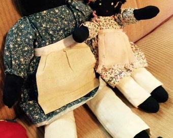Vintage Set of Two - Black Americana Dolls- Folk Rag Dolls- Vintage Handmade Cloth Doll - Black Americana