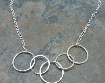Chain Circle Necklace , Layering Necklace - Fine Silver Necklace, Silver Necklace , Necklace With Five Circles