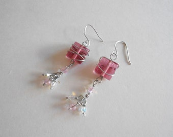 Pink Beads Earrings Wire Wrapped Beads Glass Beads Swarovski Crystals China Crystals Pierced Earrings Dangle Earrings Pink Earrings
