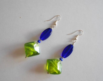 Blue Earrings Green Earrings Green Glass Beads Blue Glass Beads Glass Beads Earrings Beaded Earrings Pierced Earrings Dangle Earrings