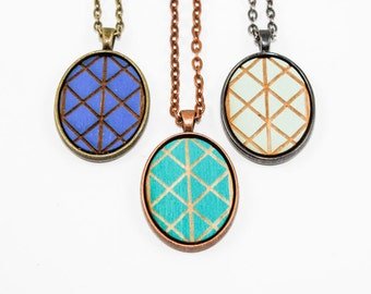 Geometric Design Necklace - Laser Engraved Wooden Cameo (Custom Made / Any Color)