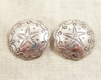 Vintage Sterling Southwestern Stamped Star Spin Clip On Earrings
