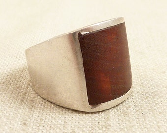 SALE ----- Size 8 Vintage Handmade Sterling and Wood Ring