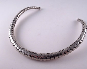 SALE --- Vintage Thai Sterling Torque Cuff Necklace Choker with Hand Applied Dots