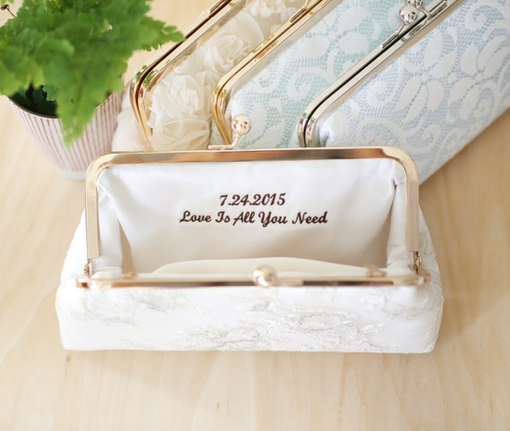 Personalized Embroidery Clutch Bag Customization - 2-line message | Thank you Message Gift