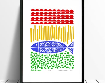 Fish and Chips Limited Edition Screen Print A3 size