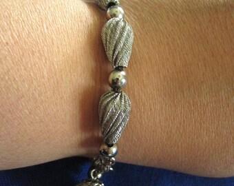 Vintage Silver Metal Beaded Bracelet