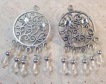 Crystal teardrops Chandelier earrings with swarovski crystals, holiday earrings, crystals silver filligree tear drops