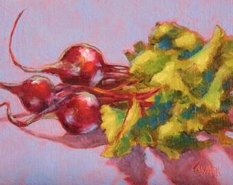 Oil Painting Art on Canvas, Beets, 8x6  Still Life on Purple