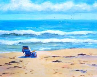 Beach Chair, 10x8 Oil on Canvas Panel, Daily Paintings Seascape
