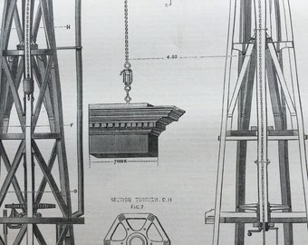 1878 Antique Print of a  Steam Building Crane - The Engineer