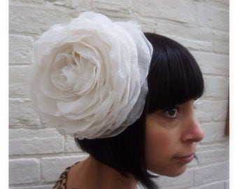 Ivory cream recycled chiffon light weight  giant wedding headpiece flower