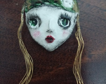 one of a kind pendant long gold hair girl