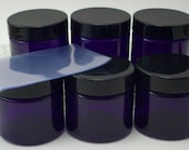2 Ounce Purple Jars with Black Lids and Shrink Bands - Set of 6 - Lined Caps - Empty Cosmetic Jars  - Balm and Salve Jars