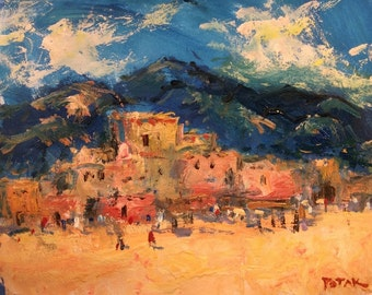 Taos and Surrounds, New Mexico Southwest Art  Impressionist Painting, adobe village / Russ Potak
