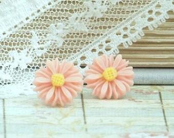 Peach Daisy Earrings Daisy Studs Peach Flower Earrings Surgical Steel Studs Peach Flower Studs