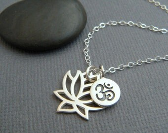 lotus flower and om necklace. sterling silver pendants. eastern. ohm charm yoga yogi jewelry. simple delicate everyday. dainty. gift for her
