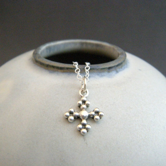 Tiny Ornate Silver Cross Necklace Small Square Cross Charm