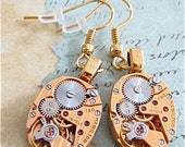 Gold Hamilton  - Steampunk Earrings - Watch Movements -  Repurposed art
