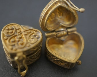 Authentic Vintage Stock Raw Brass Cute Heart Shape Magic Chest Mini Charm Wish Box - 2 pcs - NO COUPON