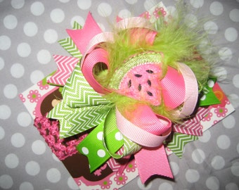 Boutique Over the Top watermelon Hair Bow