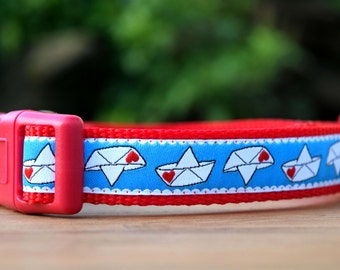 """Love Boat Dog Collar 3/4"""" wide Adjustable Dog Collar in Extra Small, Small, Medium, or Custom Size, Paper Boats Collar for Dogs"""
