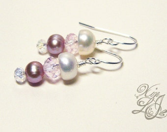 Freshwater Pearls and Crystals Jellyfish line Earrings