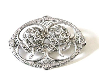 Sterling Marcasite Rose Pin Brooch Two Silver Vintage Rhodium Filigree
