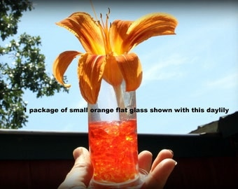 Glass in thin flat pieces-Terrarium glass supplies-2x3 bag-Yellow glass-orange glass small flat sections-Recycled glass