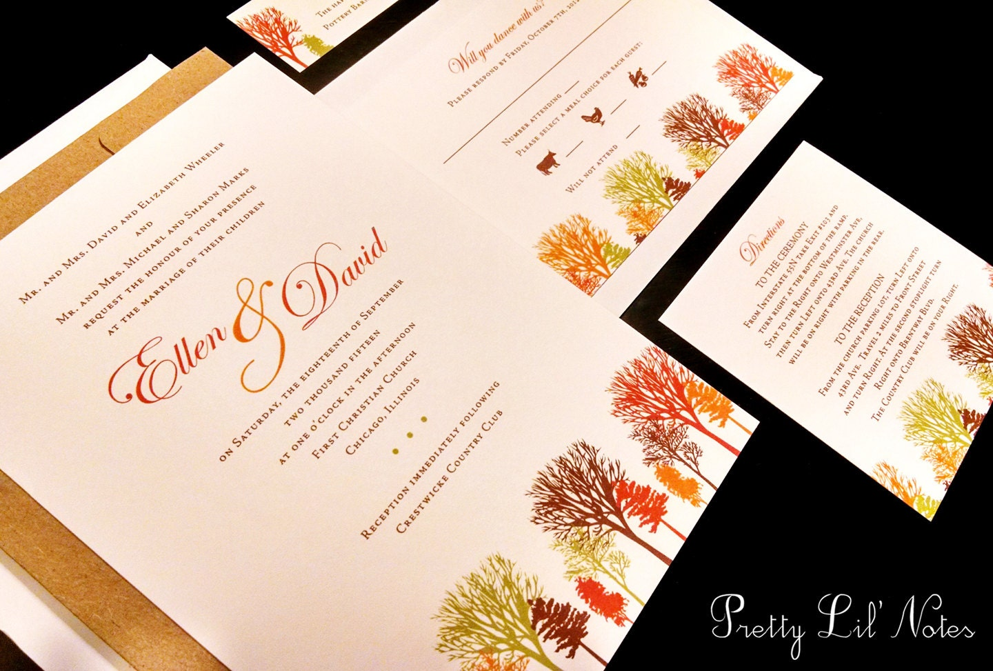 Fall Color Wedding Invitations: Fall Autumn Tree Pine Oak Outdoor Maple Leaves By