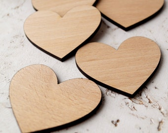Wooden hearts, crafting supplies, laser cut out wooden hearts, wedding supplies, wood hearts, set of 100 wooden hearts, cut out heart shape