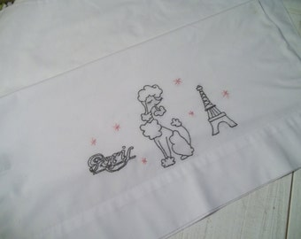 French Poodle Embroidered Pillowcase