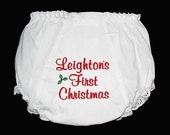 Murphy Font - Custom Personalized FIRST CHRISTMAS Baby BLOOMERS - You Choose Mini Design