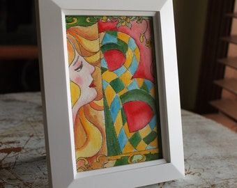 """Original Small Watercolor 4"""" x 6"""" Whimsical Letter """"B"""""""