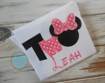 I'm Two Mouse Applique Ruffle Shirt or Bodysuit  for Little Girl--Personalized--Birthday Shirt