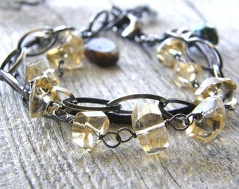 Multi-Strand Citrine, Leather and Chain Bracelet, Chunky Boho Festival Bracelet