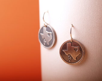 Sterling etched Love Texas earrings