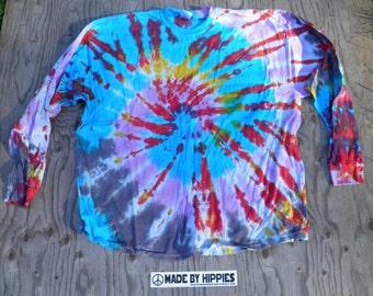 Twilight Spiral Tie Dye Longsleeve T-Shirt (Gildan Size 3XL) (One of a Kind)