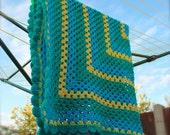 FREE SHIPPING Lagoon Crochet Baby Blanket - Granny Square - Crochet Afghan - Lap Blanket - Pram Stroller Blanket - Car Blanket 39 x 39