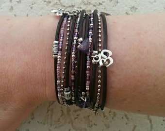 Boho Leather Wrap Bracelet - Multistrand Wrap Bracelet - Best Boho - Purple & Black Beaded Bracelet - Best Selling Items - Choose 4 Charms