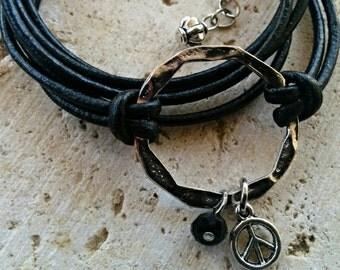 Custom Boho Wrap Bracelet - Infinity Wrap - Silver Infinity Circle - Peace Charm Bracelet - Choose ONE Charm & Leather Color - Customizable