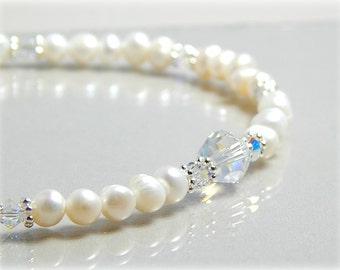 Pearl Anklet, Swarovski Crystal Anklet, Bridal Anklet,  Wedding Anklet, Fresh Water Pearl Anklet, Sterling Silver Anklet Adjustable