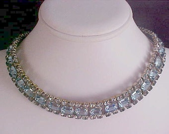 BLUE TOPAZ ~ Emerald Cut & Chaton Rhinestones Wide Silver Plate NECKLACE ~ Ornate Extender